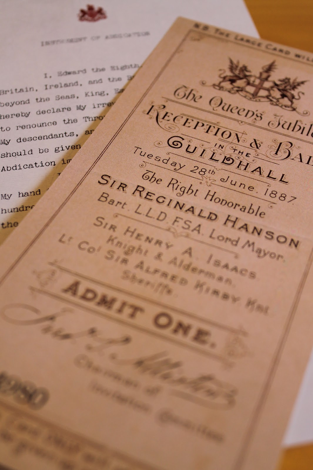 Marilyns royal blog april 2012 reproductions of memorabilia include the execution warrant for mary queen of scots william and catherines wedding invitation the instrument of stopboris Choice Image