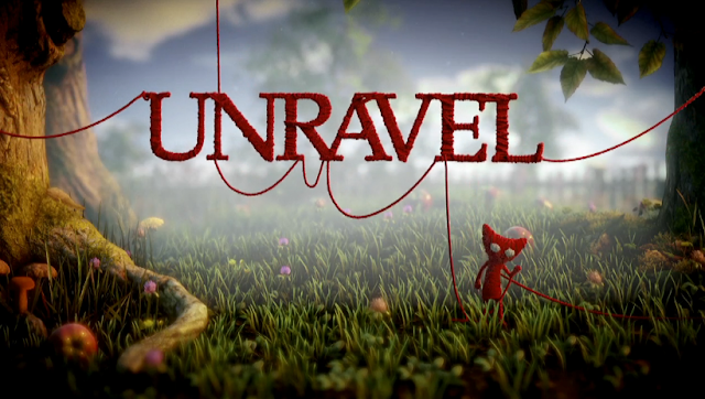 Unravel videogame title screen EA game yarn