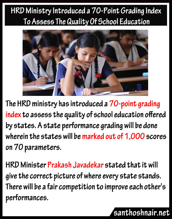 HRD Ministry introduced a 70 point grading Index to assess the quality of School Education