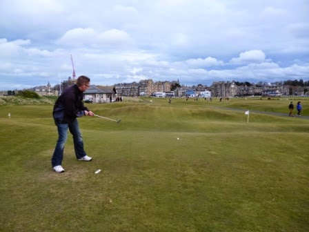 Richard Gottfried playing a shot on the World's First Miniature Golf course in April 2012 - The Himalayas Putting Course at St Andrews, Scotland. The course was founded in 1867 when The Ladies' Putting Club began playing.