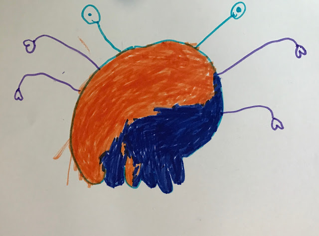 A drawing of an alien with purple arms with heart hands, blue eyes on stalks, an orange and blue body and 5 udder like legs
