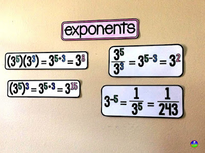 exponent rules on an 8th grade middle school math word wall