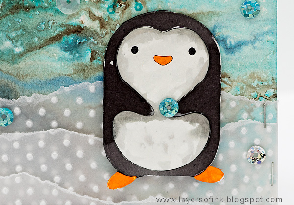 Layers of ink - Winter Penguin Card by Anna-Karin Evaldsson with Simon Says Stamp Hugging Penguin