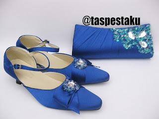 Slop Pesta Sepatu dan Tas Pesta Mewah Biru Silver Cantik Elegant