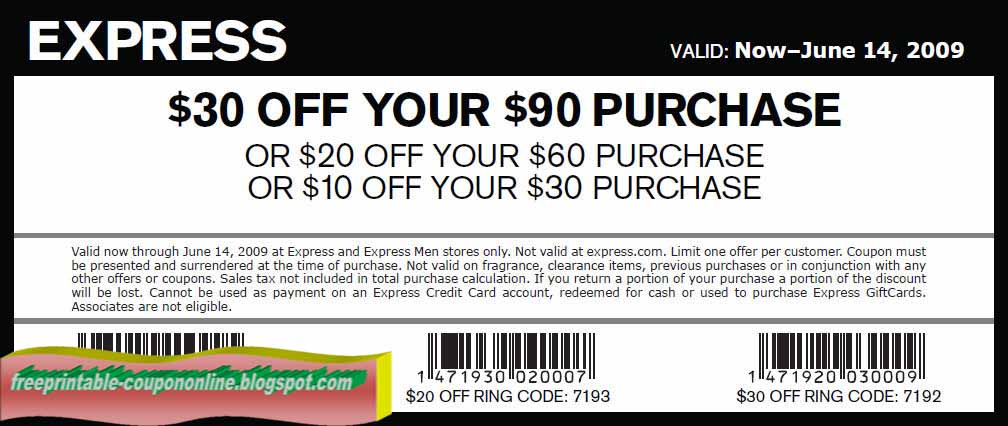 Today's top Express coupon: $15 Cash Back For Online Purchases of $ Sitewide. Find 33 Express promo codes, gift cards & free shipping discounts for