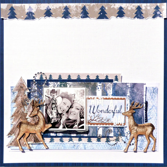 Wonderful scrapbook layout Tracee Provis Bo Bunny Sleigh Ride Snowflake stamp 02