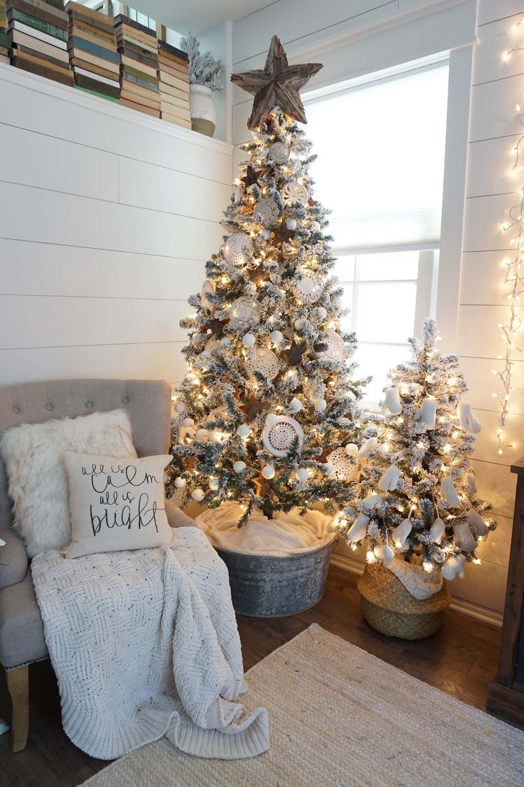 Perfecting the homefront a farmhouse christmas home tour for Home christmas tree decorations