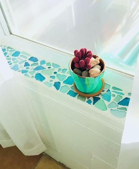 Seaglass Mosaic Sill Idea