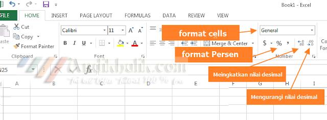 Memformat pintasan sel di Ribon Excel.