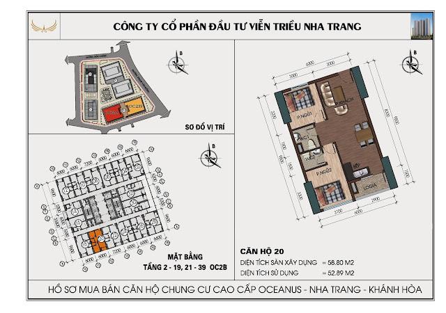 Sơ đồ căn hộ số 20 tòa OC2BViễn Triều Nha Trang