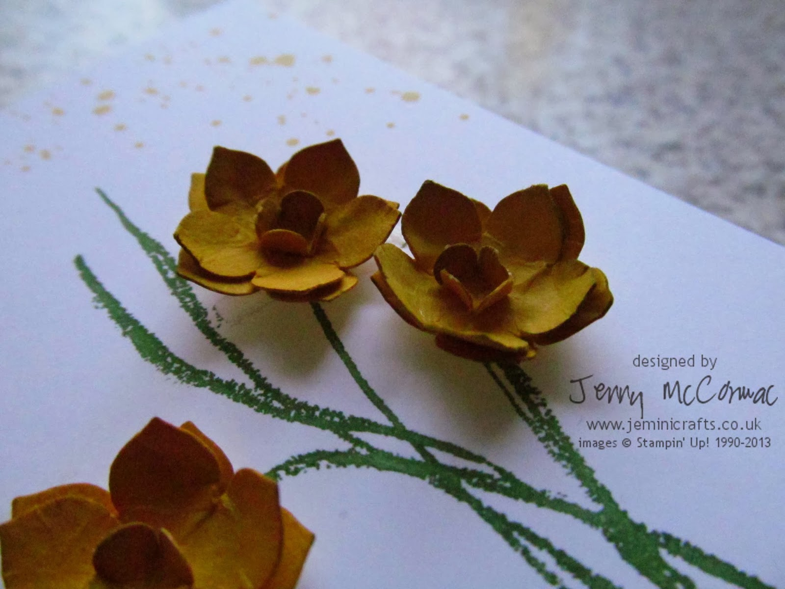 Daffodils with the petite Petas Punch by Stampin Up www.jeminicrafts.co.uk