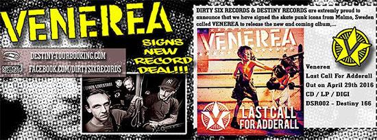 <center>Venerea announce new album 'Last Call For Adderall'</center>