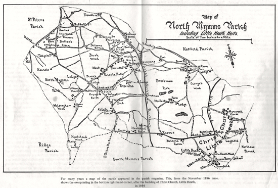 Picture of a map of North Mymms Parish from 1896