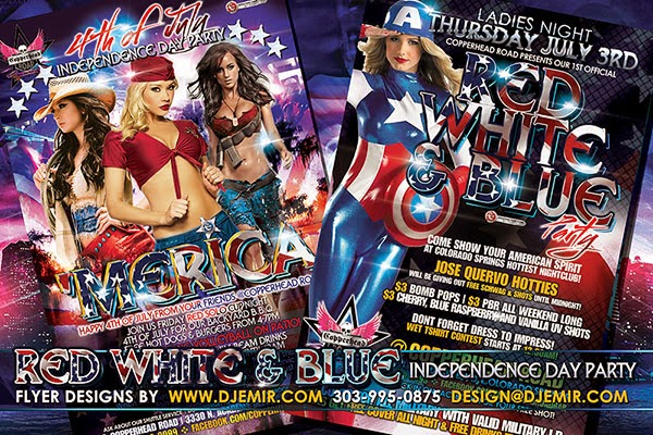 Red White And Blue 4th Of July Independence Day Flyer Design