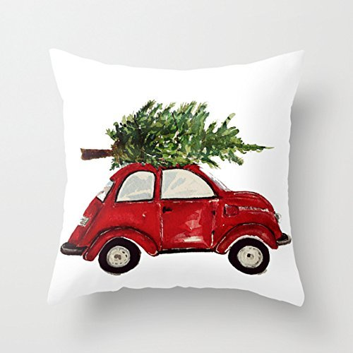 Christmas Pillow Cover with Christmas Tree on top of Red Car