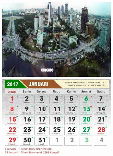Aplikasi Kalender Tahun 2017 Cover Bela Islam III Aksi Super Damai 212