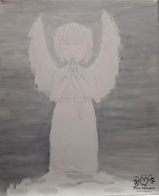 Anioł Stróż dziewczynka z różańcem