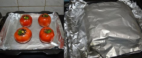 Quinoa stuffed tomatoes ready to be baked