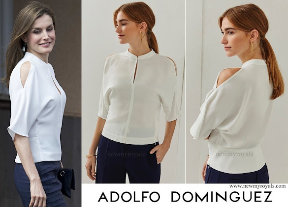 Queen Letizia wore Adolfo Dominguez short sleeve cold shoulder blouse