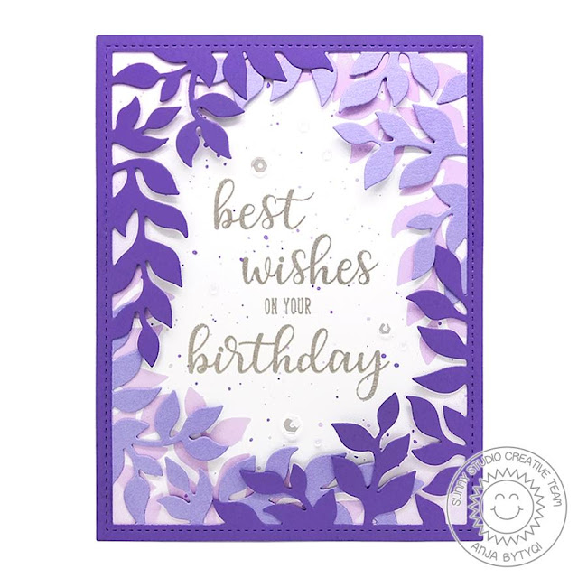 Sunny Studio Stamps: Botanical Backdrop Everyday Greetings Birthday Card by Anja Bytyqi