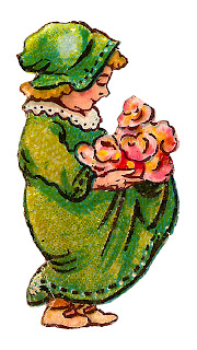 girl flowers roses vintage image drawing artwork digital clipart