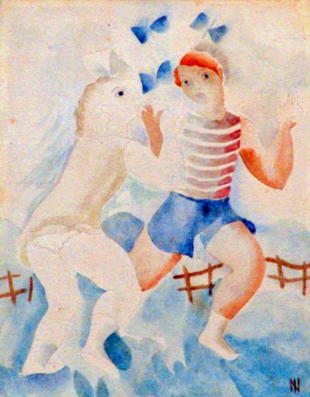 """Criança Brincando com Borboleta - Ismael Nery e suas pinturas ~ O """"Pintor Maldito"""""""
