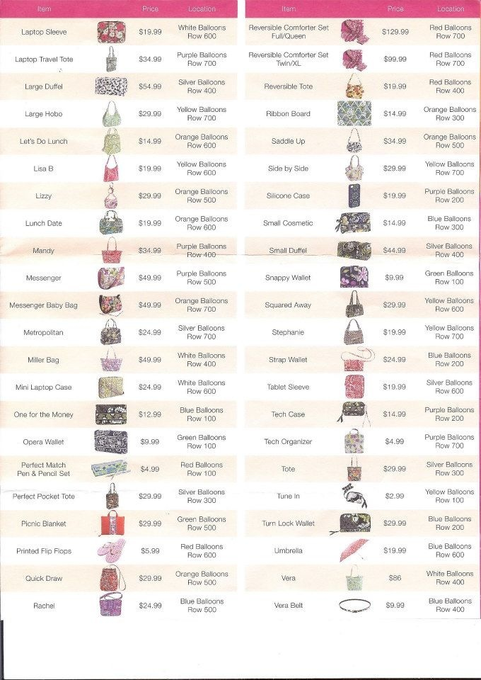 c7c3d26dc758 Very Vera World  Vera Bradley Outlet Sale 2013 Price List