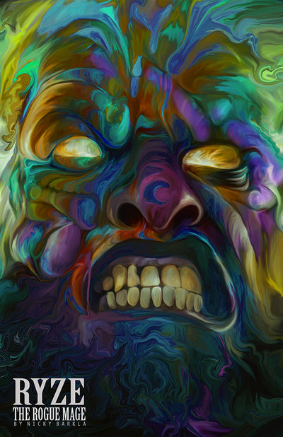 13-Ryze-the-Rogue-Mage-Nicky-Barkla-Psychedelic-Celebrity-Portrait-Paintings-www-designstack-co
