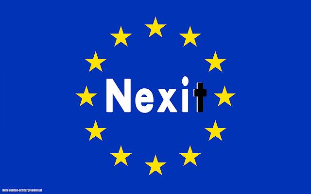 Vlag Europa met tekst Nexit