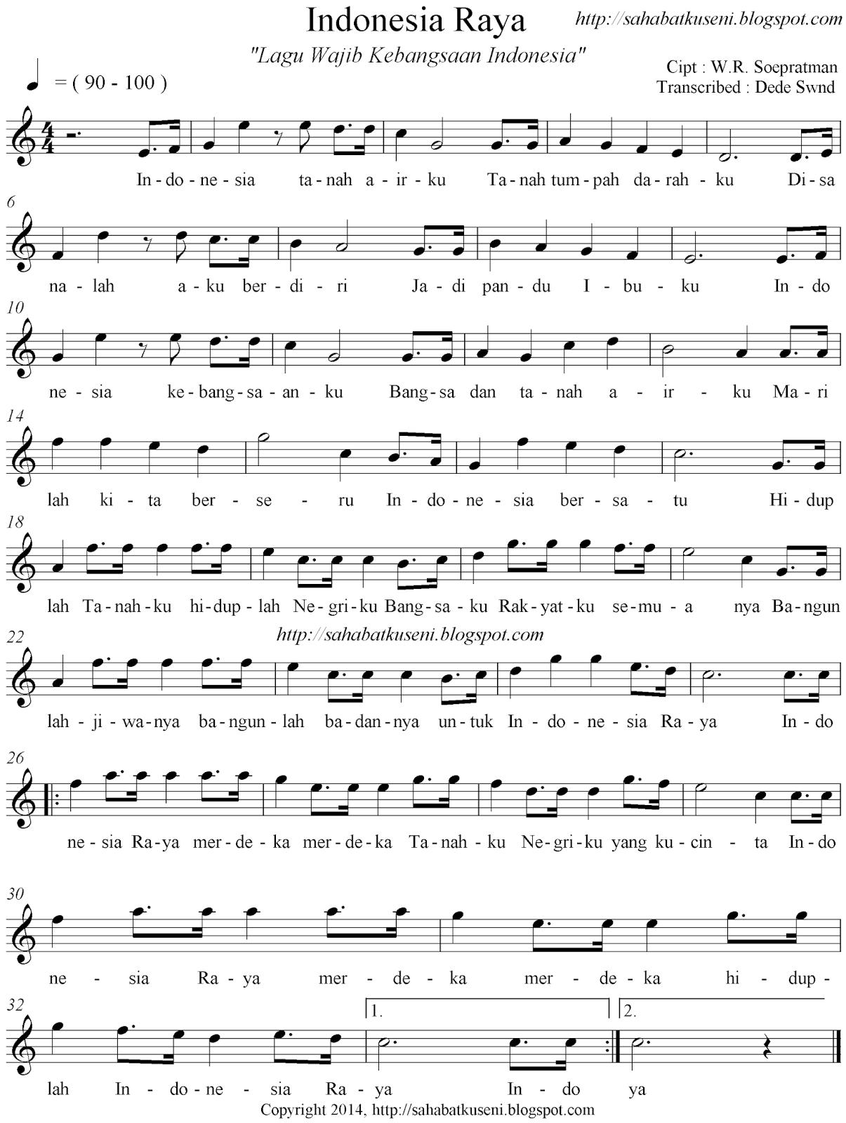 Not Angka Lagu Indonesia Raya : angka, indonesia, Balok, Wajib, Indonesia-Raya,, Soepratman, Sahabatku