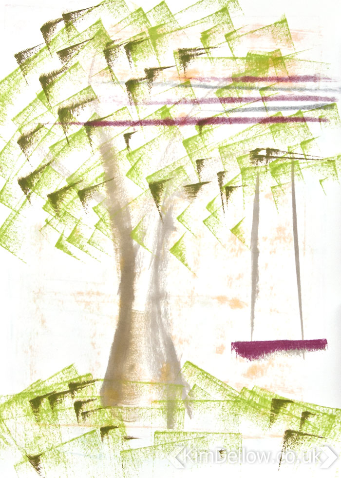 Tree with swing drawn with ink pads by Kim Dellow