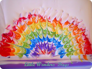 rainbow paintings made with shaving cream