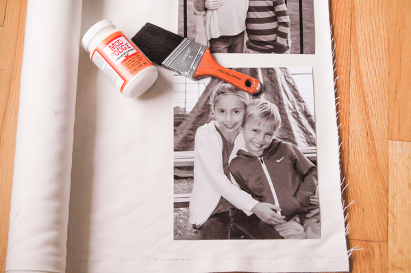 Gluing photos to canvas using mod podge