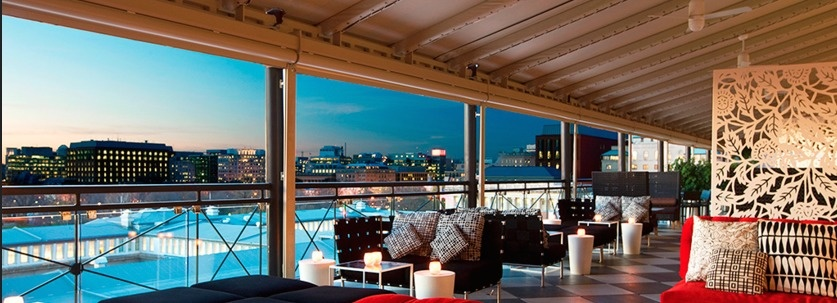 The World's 30 Best Rooftop Bars… Everyone Should Drink At #9 At Least Once. - The POV in the W hotel is surrounded by the nation's landmarks and monuments in Washington, DC.