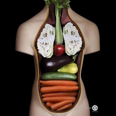 fotomontaje verduras y cuerpo humano