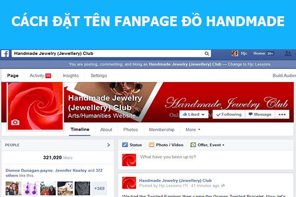 dat ten fanpage cho shop handmade
