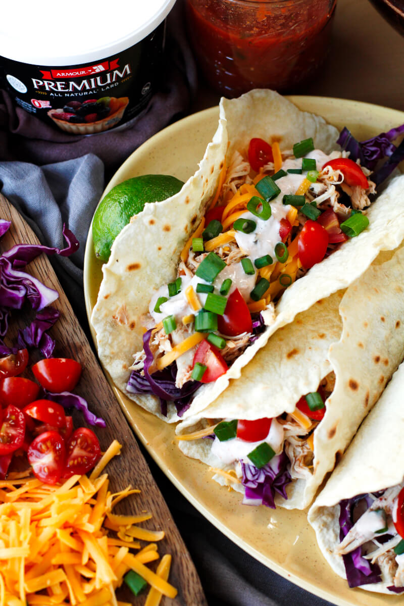 Slow Cooker Salsa Ranch Chicken Tacos