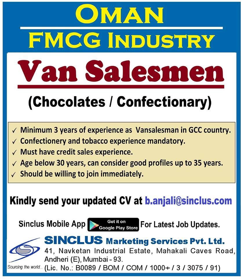 Van Salesmen Oman FMCG industry