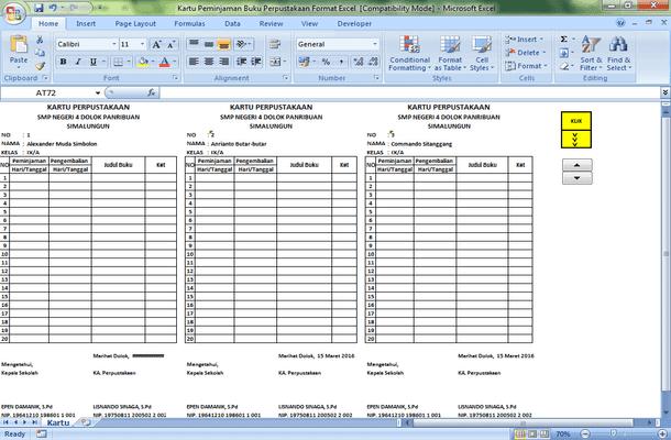Cetak Kartu Peminjaman Buku Perpustakaan Format Microsoft Excel