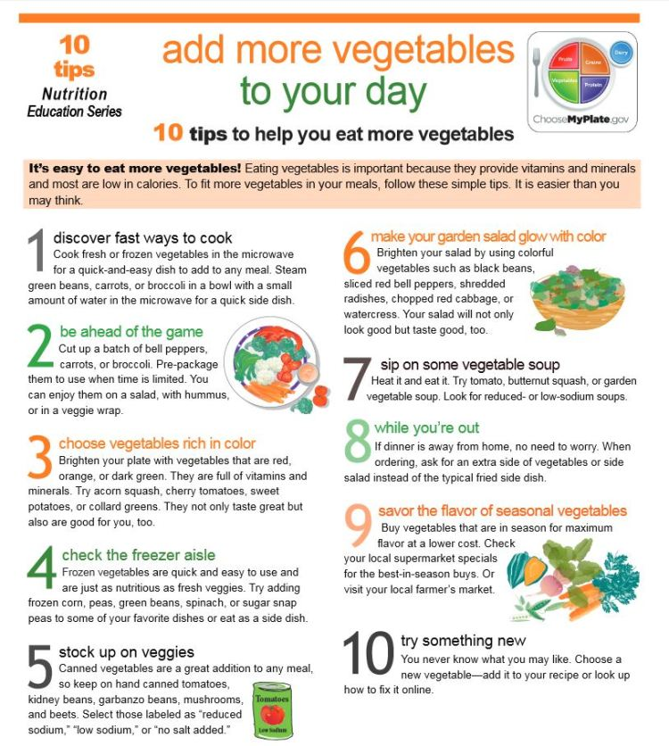 10 Tips to Help You Eat More Vegetables Free Health Tips