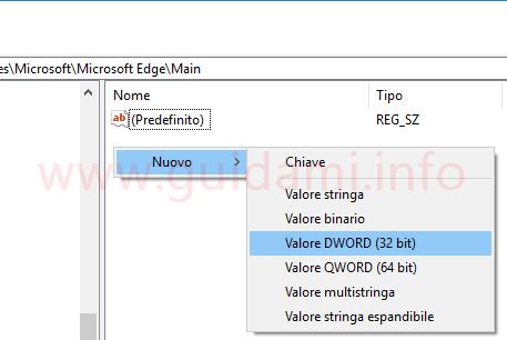 Windows Registro di sistema creare un nuovo valore dword 32 bit