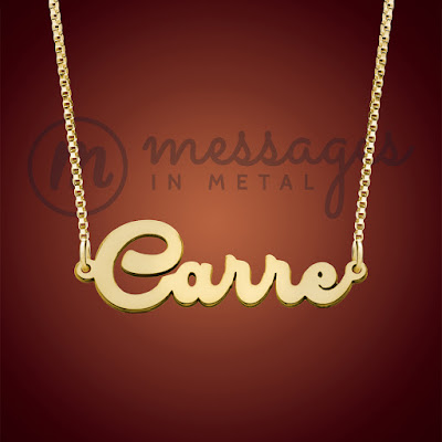 messages in metal gold dashing name necklace