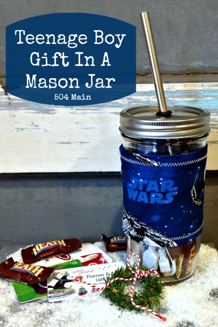 This gift in a mason jar has a dual function: It is a drinking glass after he opens the gift!