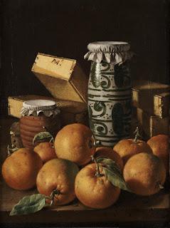 Luis Melendez - Nature morte avec oranges,pot de miel, boites de pate de coing,pot en faience de Manises( vers 1765).