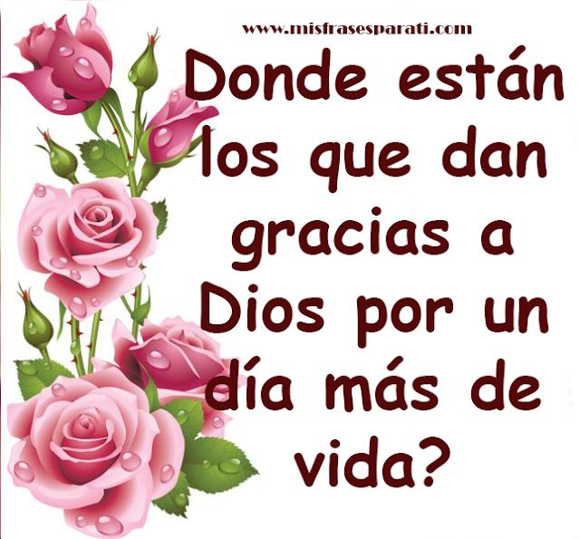 Donde están los que dan gracias a  Dios por un día más de vida?