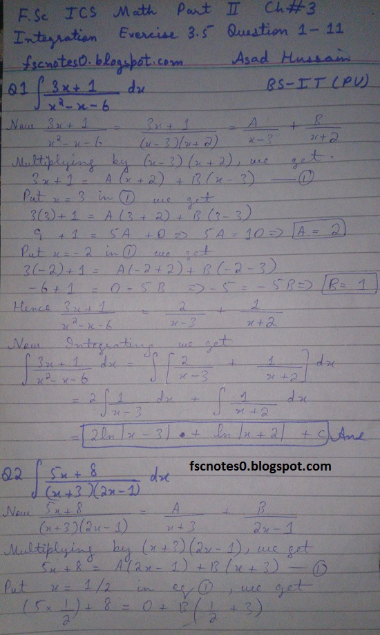 FSc ICS Notes Math Part 2 Chapter 3 Integration Exercise 3.5 question 1 - 11 by Asad Hussain