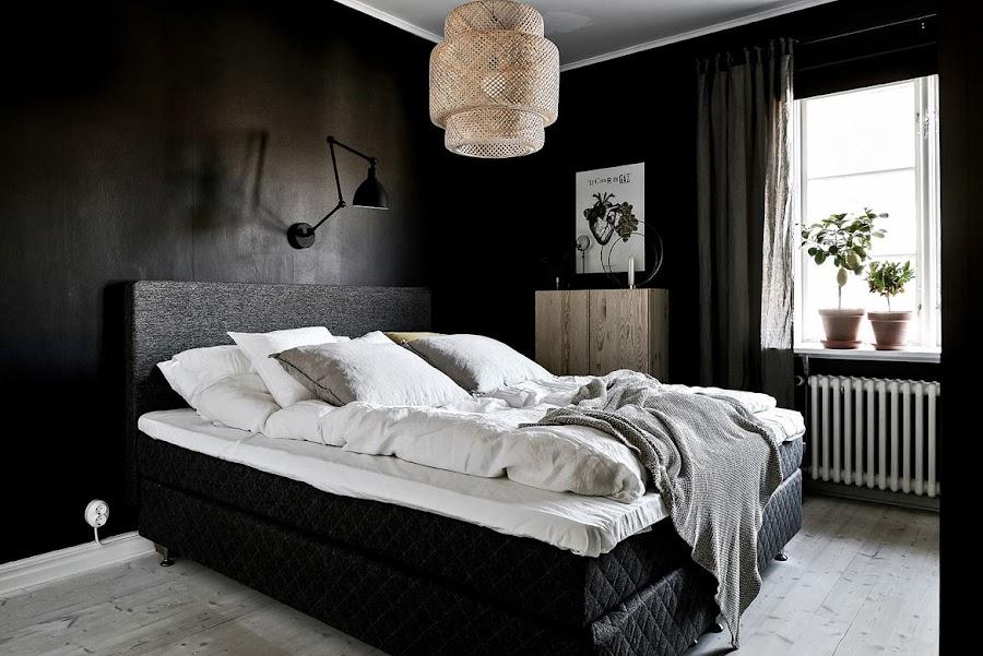 dormitorio negro, oscuro, lampara, sinnerlig, ikea, decoracion nordica, decoracion escandinava, estilo nordico, alquimia deco, interiorismo