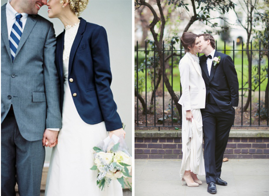 alternative alla stola per la sposa, brides wearing blazer