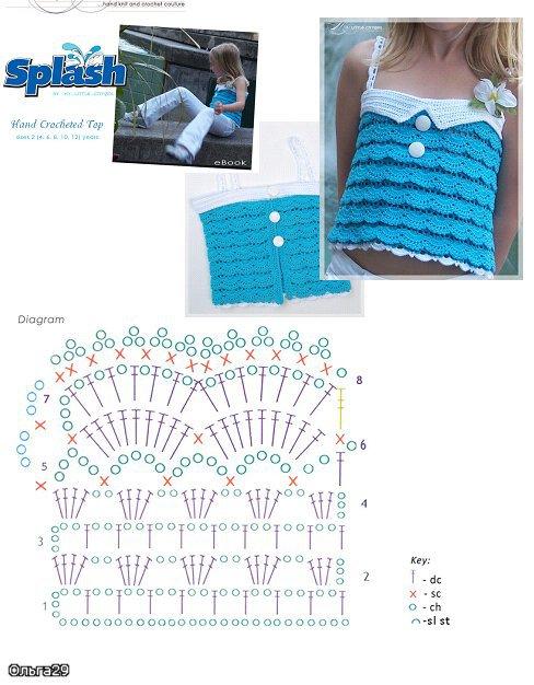 Patron Crochet Top Infantil con Ondas