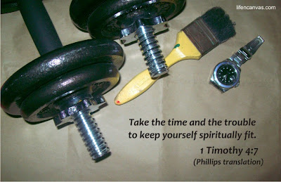 barbell, timer and brush